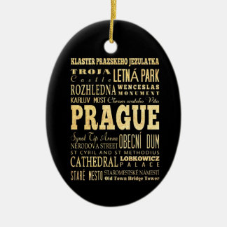 Prague City of Czech Republic Typography Art Double-Sided Oval Ceramic Christmas Ornament