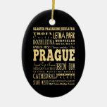 Prague City of Czech Republic Typography Art Christmas Tree Ornament