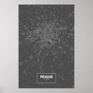 Prague, Czech Republic (white on black) Poster
