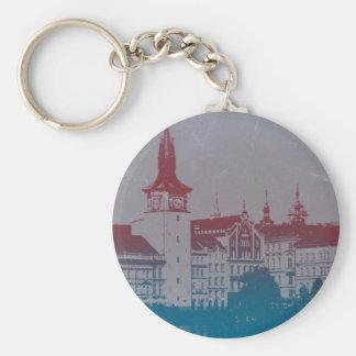 Prague Golden city Basic Round Button Keychain