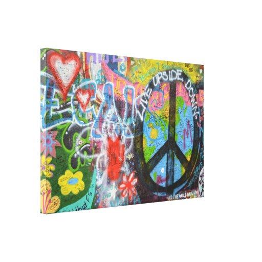 Prague Graffiti Stretched Canvas Prints