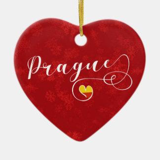 Prague Heart, Christmas Tree Ornament, Czech Ceramic Ornament