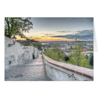 Prague - Old Castle Stairs in the Morning Card