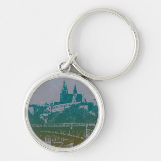 Prague old town Castle Silver-Colored Round Keychain
