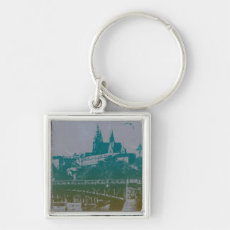 Prague old town Castle Silver-Colored Square Keychain