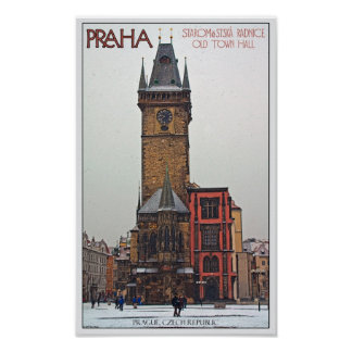 Prague - Old Town Hall Poster