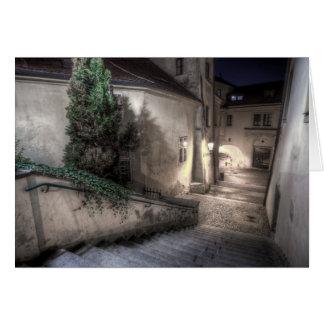 Prague - Radnicke Stairs Down at Night Card
