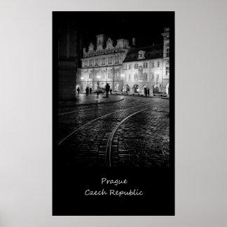 Prague Rails at Night Poster