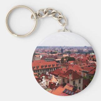 Prague Red Roofs Keychain