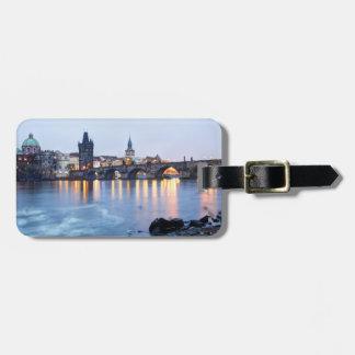 Prague River twilight view souvenir photo Bag Tag