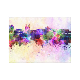 Prague skyline in watercolor background gallery wrap canvas