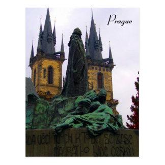prague statue postcard