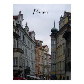 prague street postcard