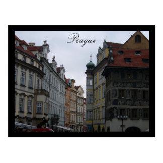 prague streetscape postcard