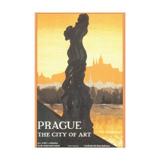 Prague the City of Art Vintage Travel Poster Canvas Print