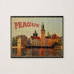 Prague Vintage Travel Jigsaw Puzzle