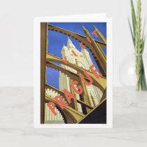 """Prague"" Vintage Travel Poster Greeting Card"