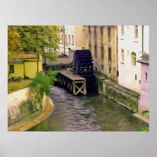 Prague water wheel painting poster
