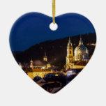 Praha - Prague Double-Sided Heart Ceramic Christmas Ornament