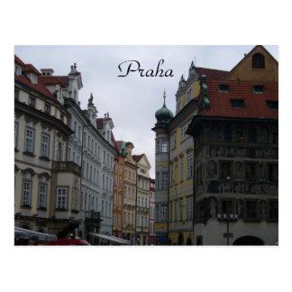 praha streets postcard