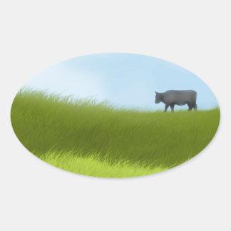 Prairie Cow Oval Sticker