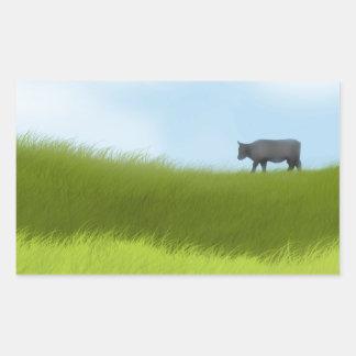 Prairie Cow Rectangular Sticker