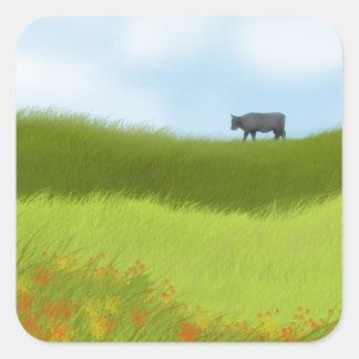 Prairie Cow Square Sticker
