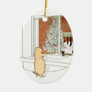 Prairie Dog and Christmas Tree Ceramic Ornament