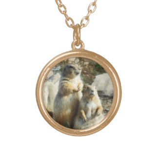 Prairie Dog Formal Portrait Round Pendant Necklace