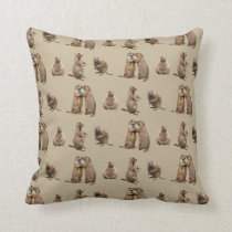 Prairie Dog Frenzy Pillow (Gold)