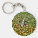 Prairie Dog in Flowers Basic Round Button Keychain