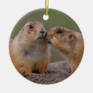 prairie dog kiss ceramic ornament