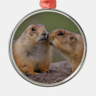 prairie dog kiss metal ornament