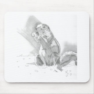 prairie dog pencil drawing mouse pad