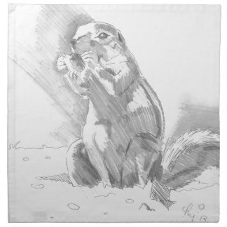 prairie dog pencil drawing napkins