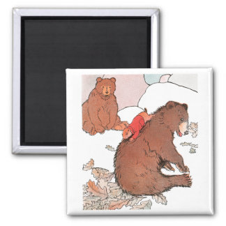 Prairie Dog Playing with Bear 2 Inch Square Magnet