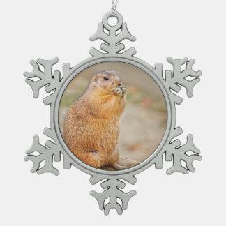 Prairie dog snowflake pewter christmas ornament