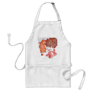 Prairie Dog with Axe and Ruined Red Coat Adult Apron