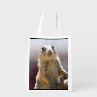 Prairie Dog with Buck Teeth Reusable Grocery Bags