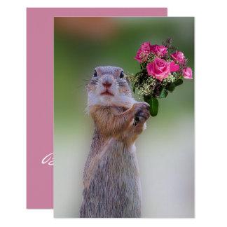 Prairie Dog with Pink Roses Bridesmaid Card