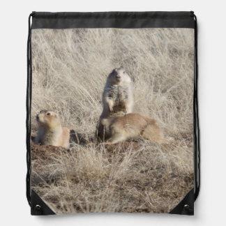 Prairie Dogs Colony photo Drawstring Bag