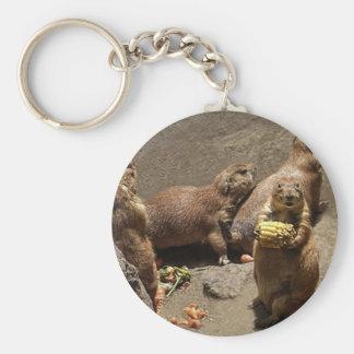 Prairie Dogs Eating Dinner 1 Basic Round Button Keychain