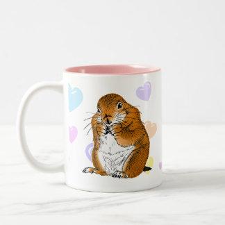 prairie dog's face (2) Two-Tone coffee mug