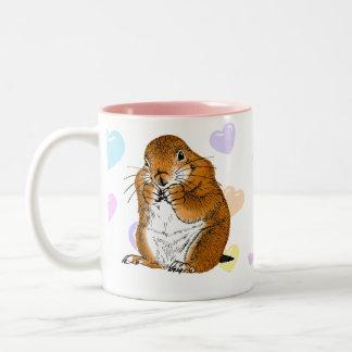 prairie dog's face Two-Tone coffee mug