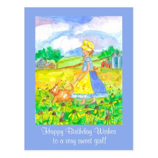 Prairie Farm Girl Walking A Dog Happy Birthday Postcard