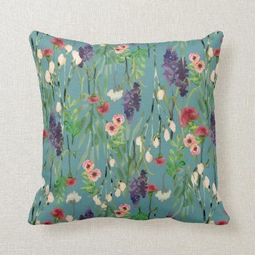 lauriekentdesigns Prairie Flower Garden Pattern Throw Pillow
