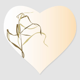 Prairie Grass Design Heart Sticker