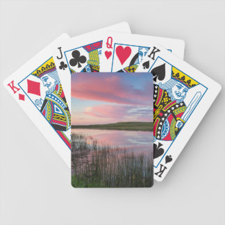 Prairie Pond Reflects Brilliant Sunrise Clouds Bicycle Playing Cards