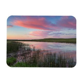 Prairie Pond Reflects Brilliant Sunrise Clouds Magnet