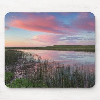 Prairie Pond Reflects Brilliant Sunrise Clouds Mouse Pad